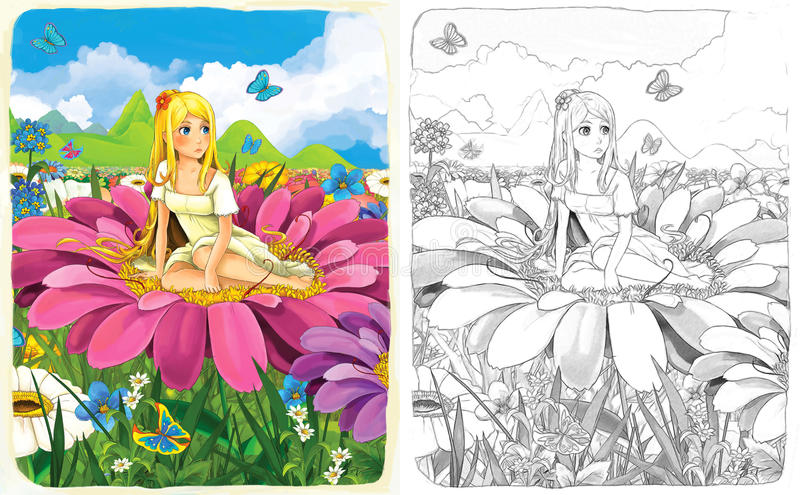 The Sketch Coloring Page With Preview - Artistic Style - Illustration For The Children Stock Images