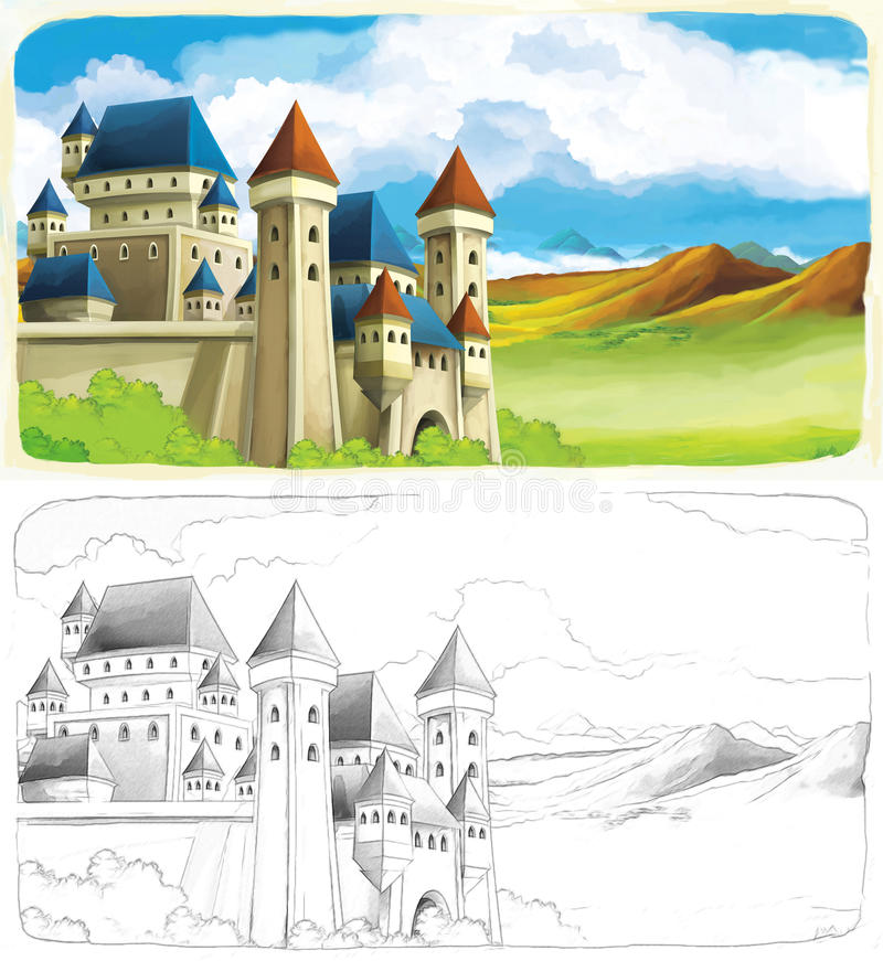 The sketch coloring page with preview. Beautiful coloring page with preview for children vector illustration