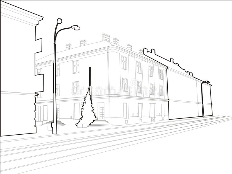 Sketch Corner Building - Wired royalty free stock photos