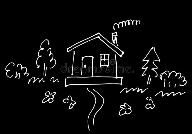 Sketch of countryside house surrounded by trees and flowers isolated on black background. Hand drawn  illustration stock illustration