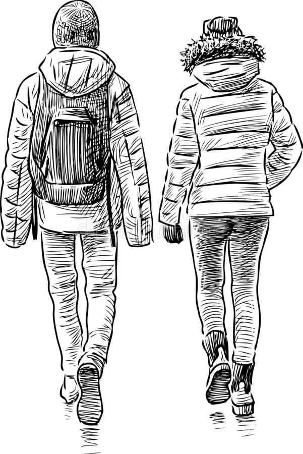 Sketch of a couple of teens students. Hand drawing of the walking students friends vector illustration