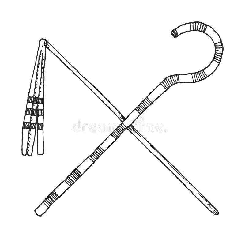 Sketch a Crook And Flail, originally th attributes of the god Osiris that became insignia of pharaonic authority.  royalty free illustration