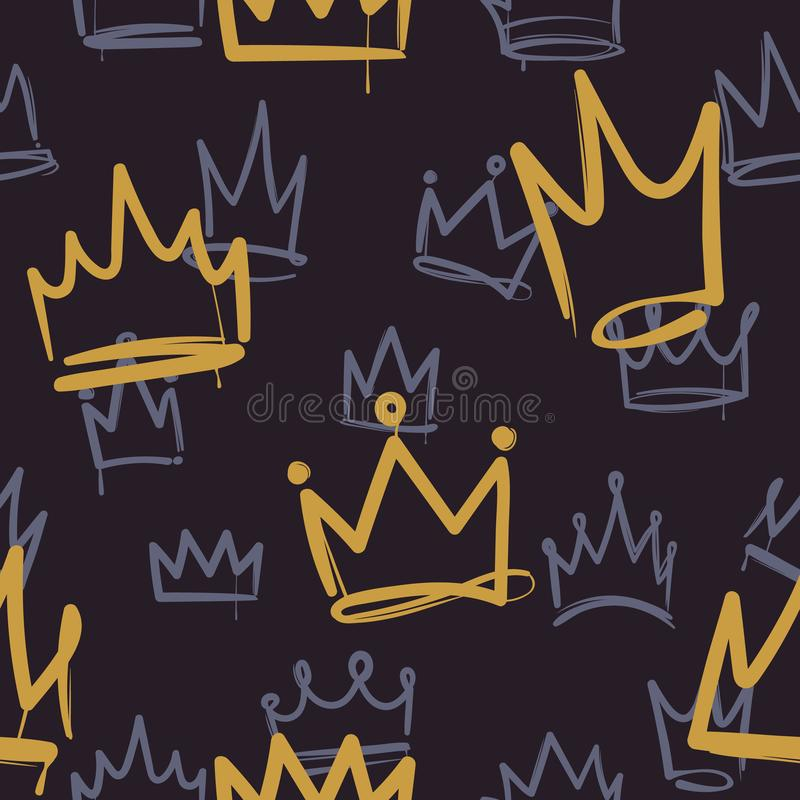 Sketch crown pattern. Seamless print texture girl princess crowns luxury royal corona wallpaper interior doodle vector vector illustration