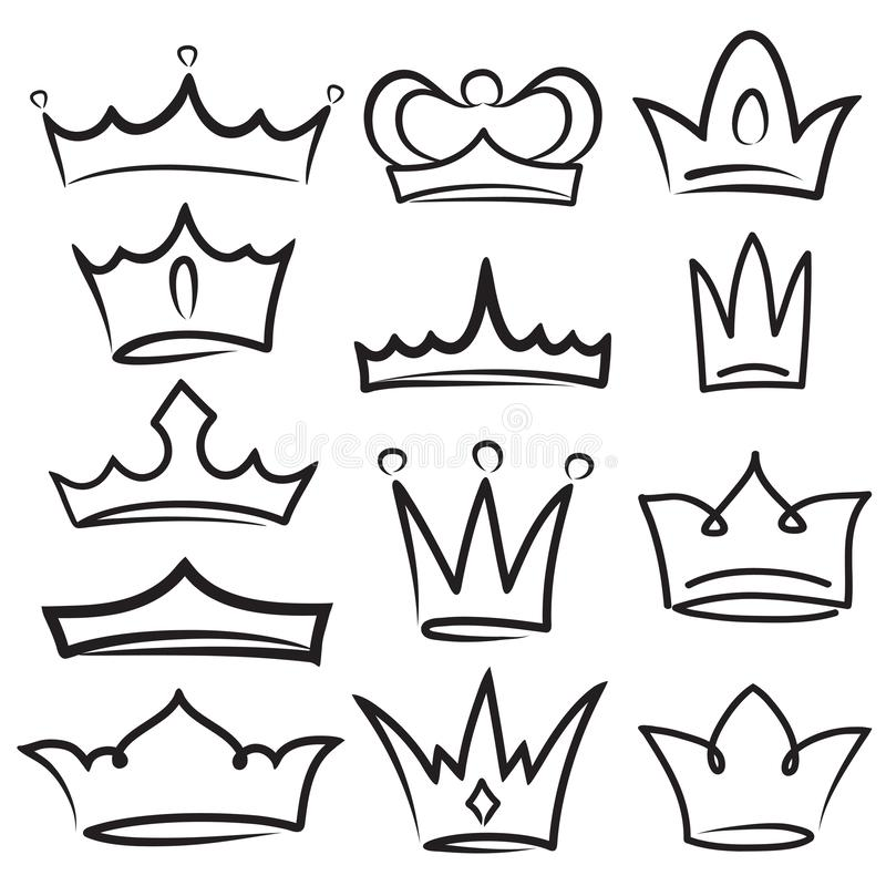Sketch crown. Simple graffiti crowning, elegant queen or king crowns hand drawn. Royal imperial coronation symbols, monarch vector illustration