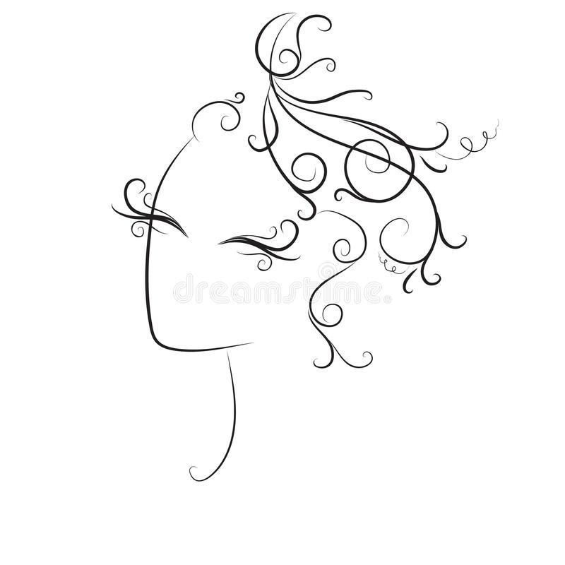Sketch of curls hairstyle, fashion stock images