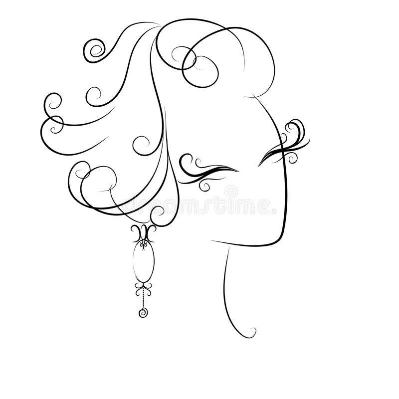 Sketch of curls hairstyle royalty free stock images