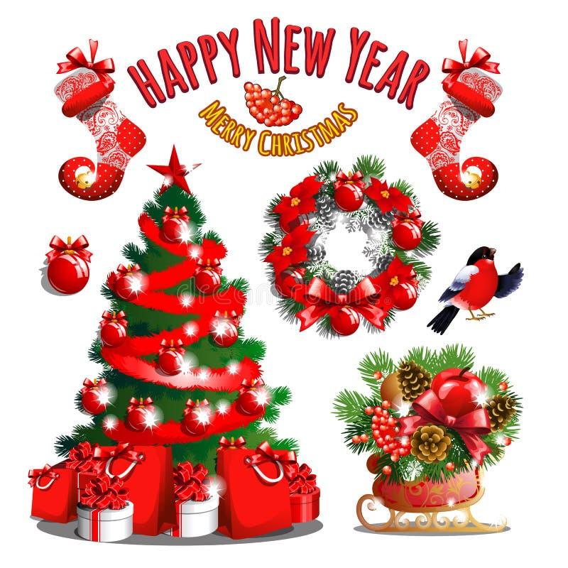 Sample Christmas Tree Decorating Ideas: Christmas Tree And Santas Bag With Gifts Stock Vector
