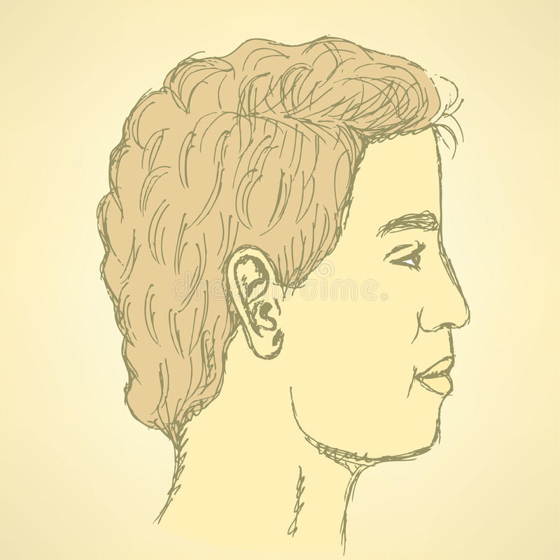 Sketch cute man in profile stock illustration