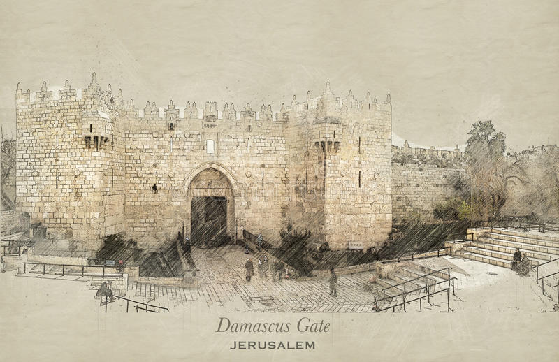 Sketch of Damascus Gate, Jerusalem. Sketch of Damascus Gate in retro style, raster illustration, travel greeting card, postcard, poster with cityscapes of stock illustration