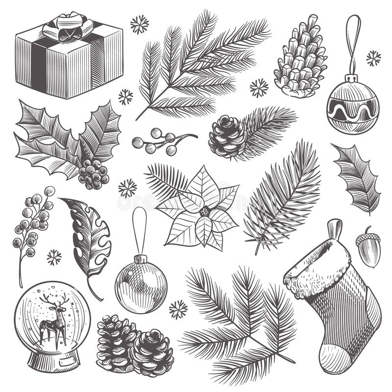 Sketch decoration xmas set. Christmas hand drawn vintage present and holly, toys and holiday stocking isolated vector royalty free illustration