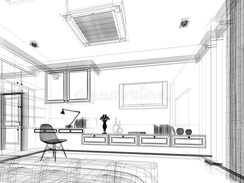 Sketch design of bedroom 3d render stock illustration for Progettare camera da letto 3d