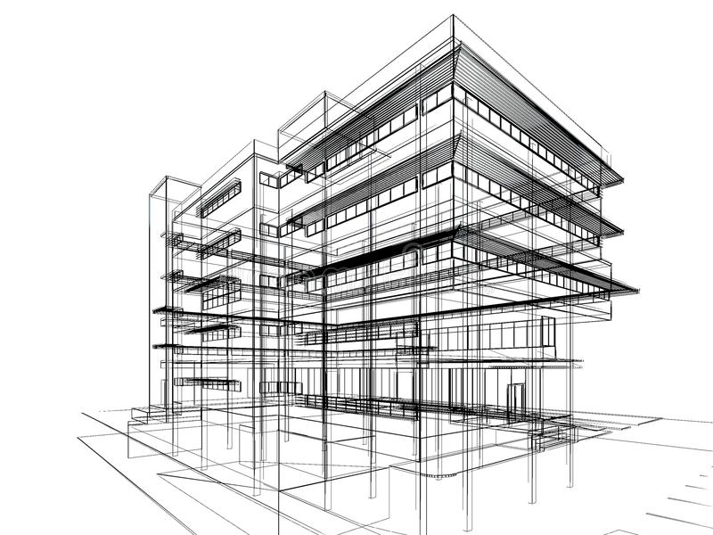 sketch design of building stock illustration  illustration