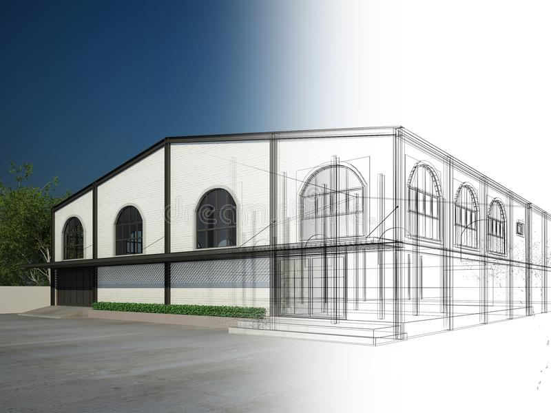 Sketch design of house ,3d stock illustration