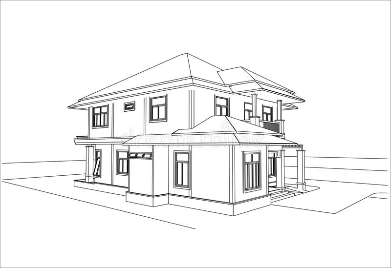 Awesome House Sketch Design Part - 7: Download Sketch Design Of House,vector Stock Vector - Illustration Of Idea,  Interior: