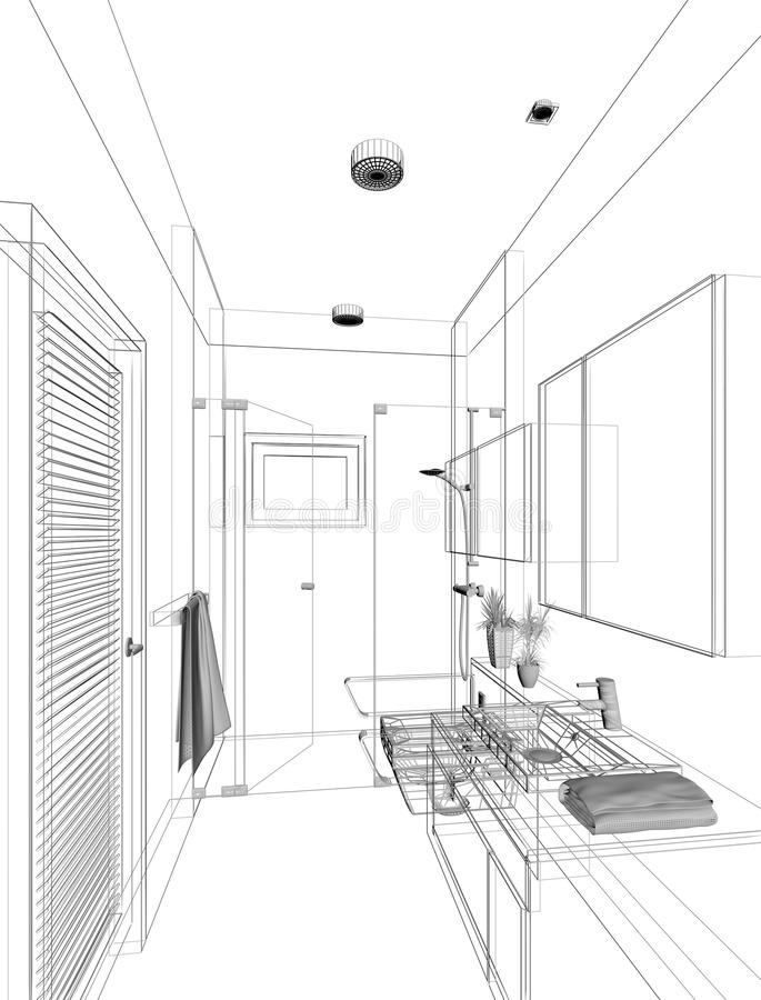 Sketch Design Of Interior Bathroom Stock Illustration Illustration Of Frame Sketch 36944692