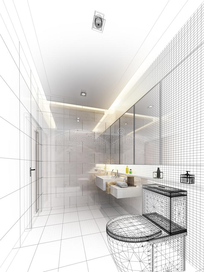 Sketch design of interior bathroom stock image
