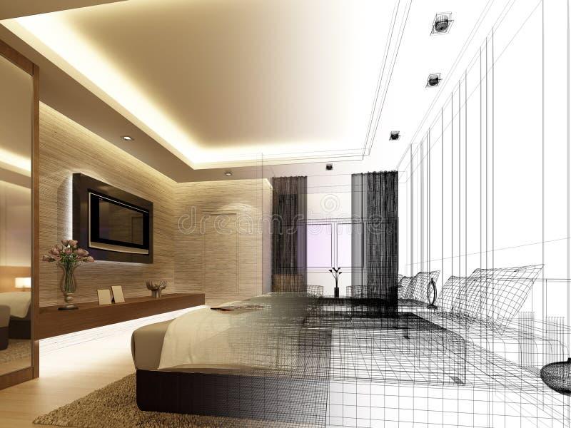 Sketch design of interior bedroom stock illustration for Decoracion de interiores monterrey