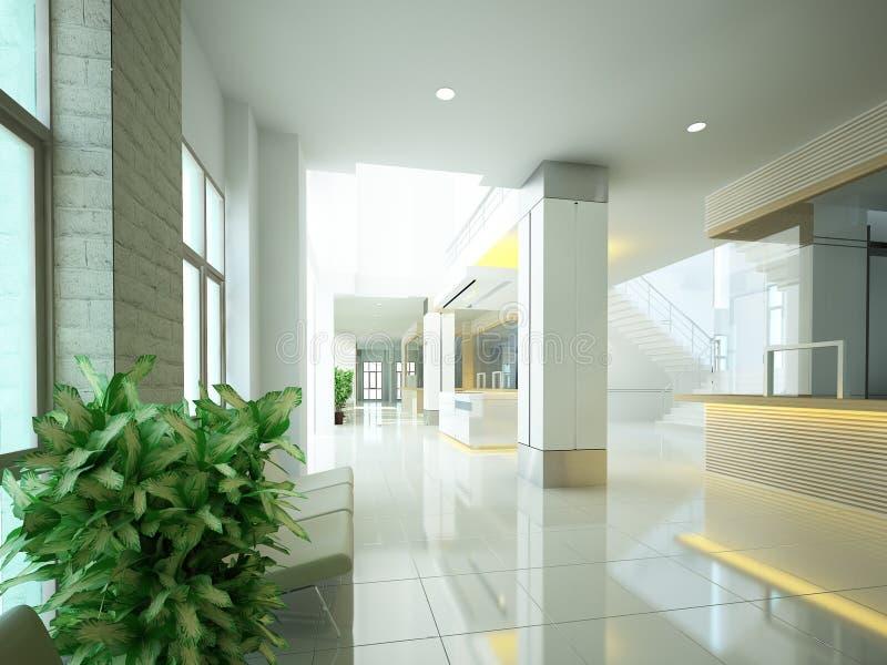 Sketch design of interior hall, 3d royalty free illustration