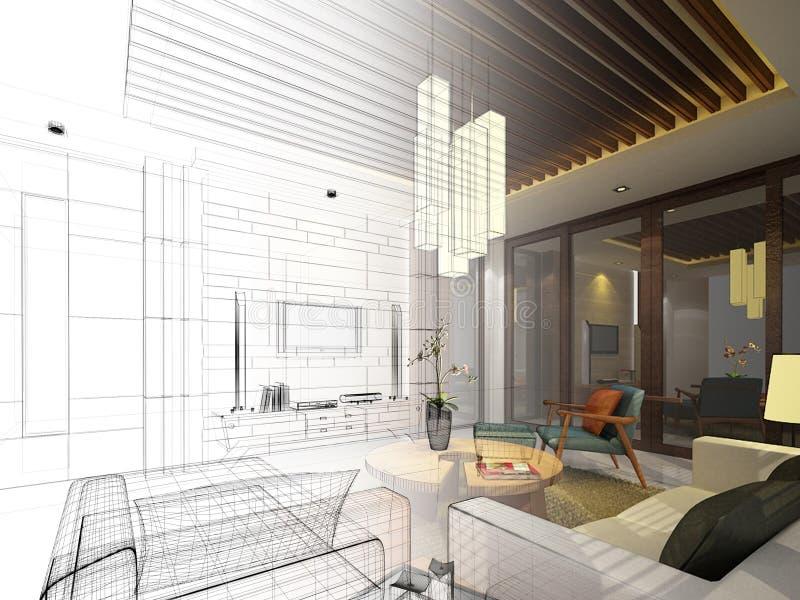 Sketch design of interior living vector illustration