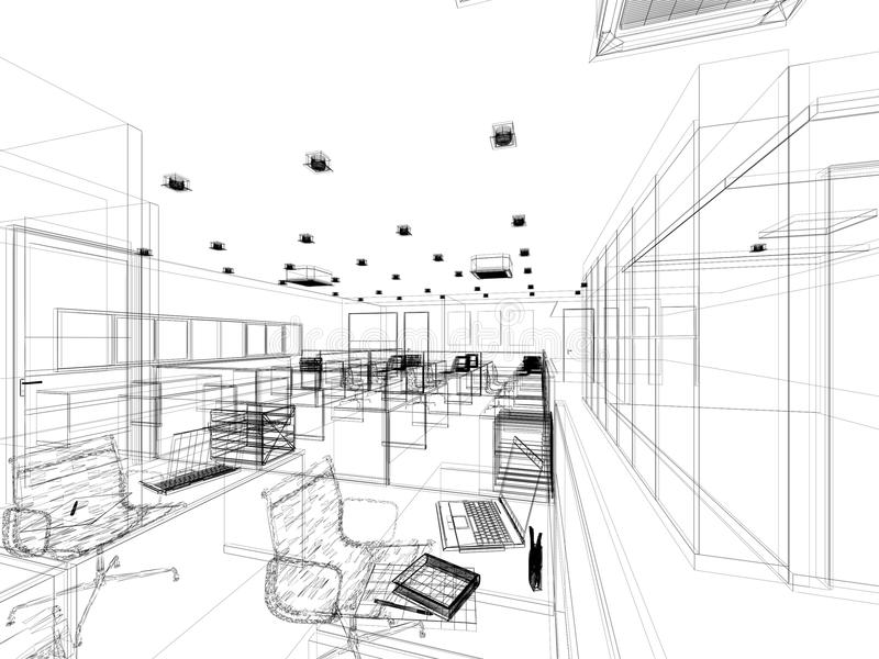 Sketch design of interior office stock illustration for Minimalist house sketch