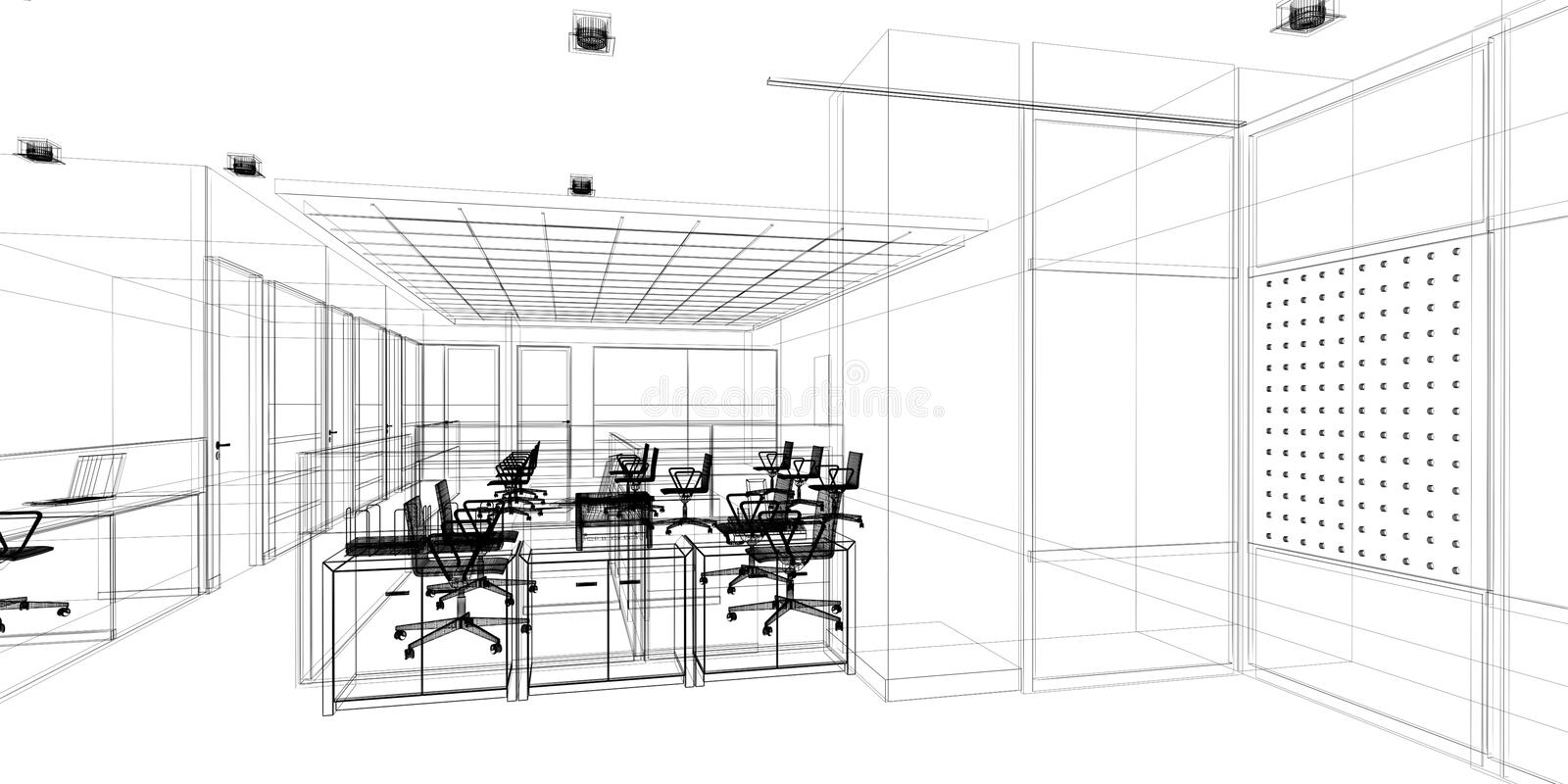 Sketch design of interior office royalty free stock image