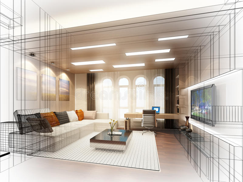Sketch design of living room 3dwire frame stock for Decoration interieur cours