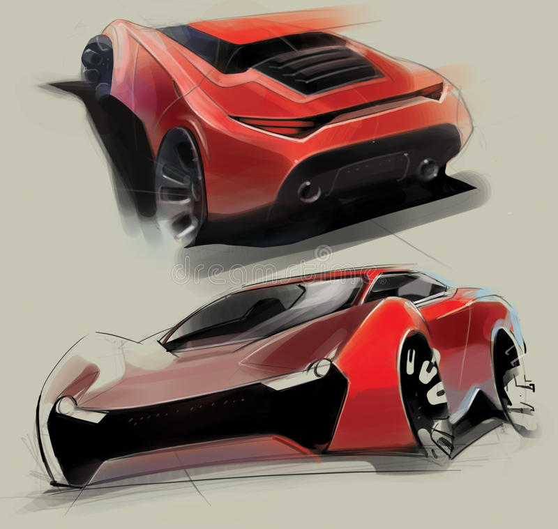 Download A Sketch Of The Design Of A Modern Futuristic Sports Car.  Illustration. Stock