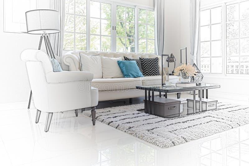 Sketch design of modern living room interior stock photo for Sofa design sketch
