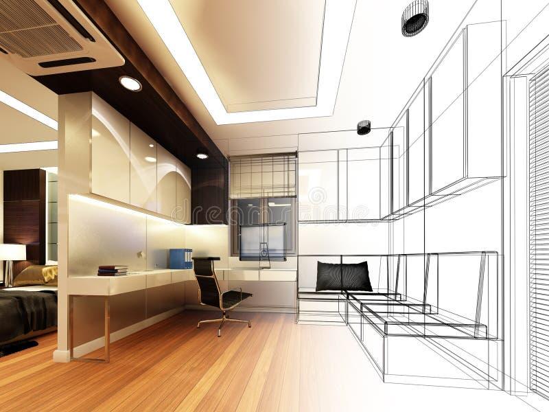 Sketch design of study room royalty free illustration