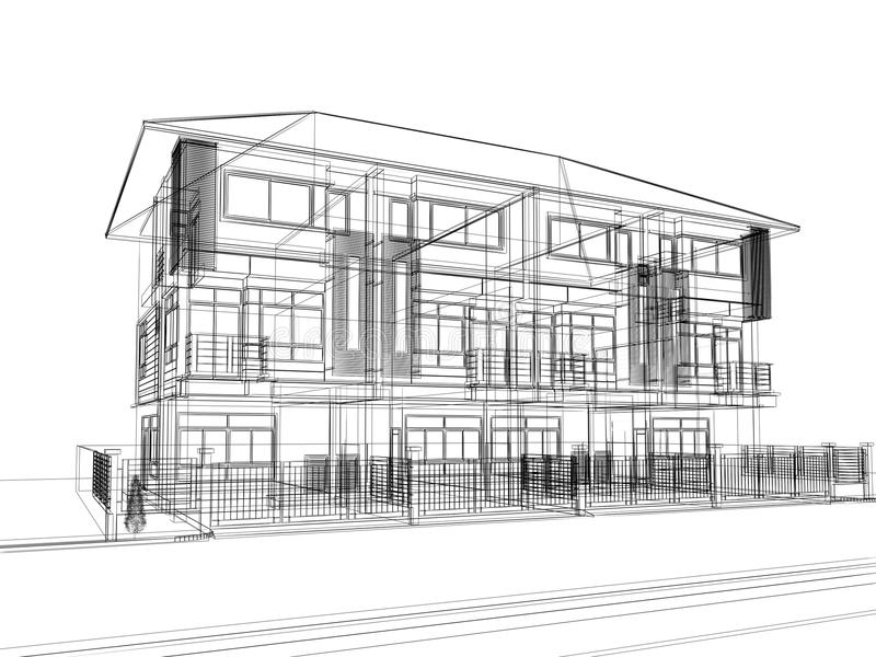 Sketch design of town home stock illustration. Illustration of ...