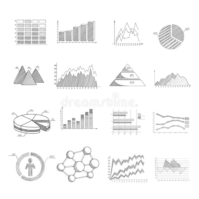 Sketch Diagrams Set. Sketch diagrams charts and infographic elements set isolated vector illustration stock illustration