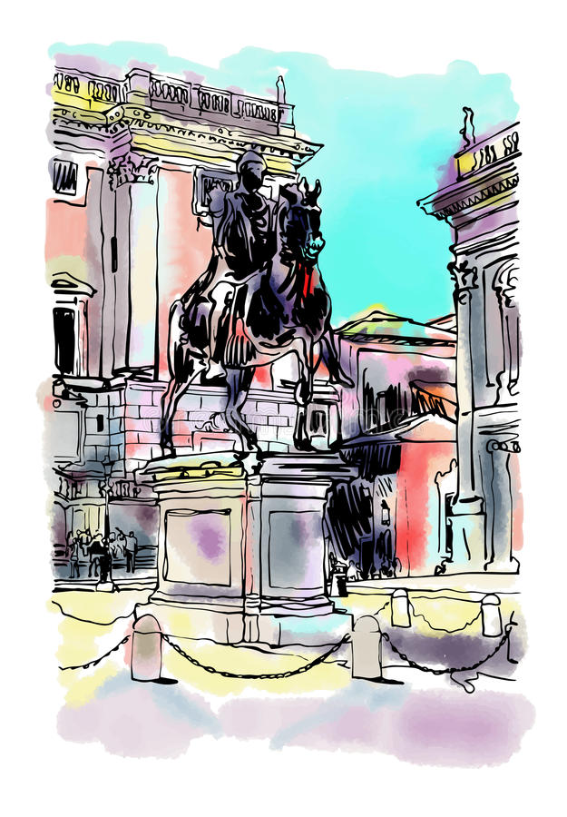 Free Sketch Digital Drawing Of Rome Italy Cityscape With Sculpture Eq Stock Photo - 75782880
