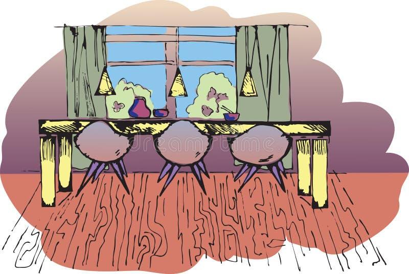 Sketch of dinning room. Background illustration royalty free illustration