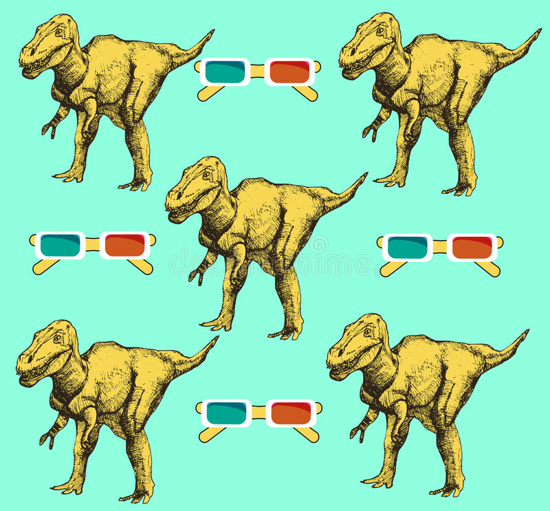Sketch dinosaur and 3d glasses in vintage style, vector seamless pattern royalty free illustration