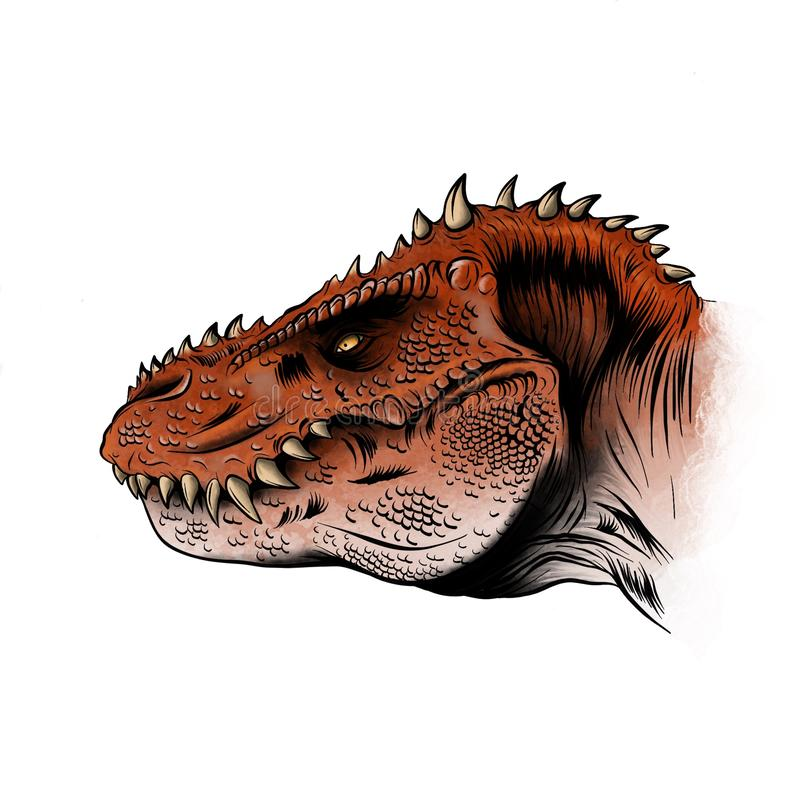 Sketch of a dinosaur head with an open mouth. Tyrannosaur. vector illustration