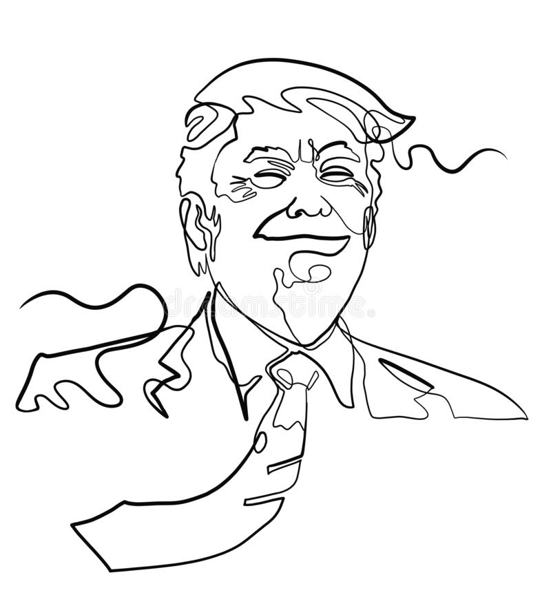 Sketch of Donald Trump like person, head, smiling royalty free illustration
