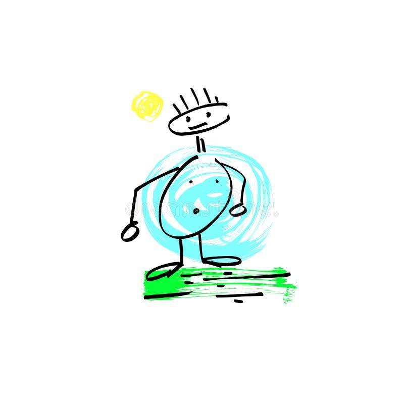 Sketch doodle human stick figure fat man vector illustration