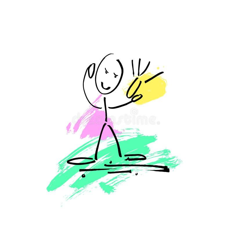 Sketch doodle human stick figure it makes selfie stock illustration