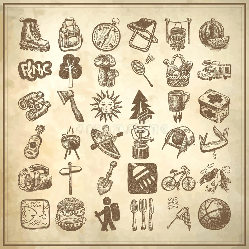 Sketch doodle icon collection, picnic, travel and royalty free illustration