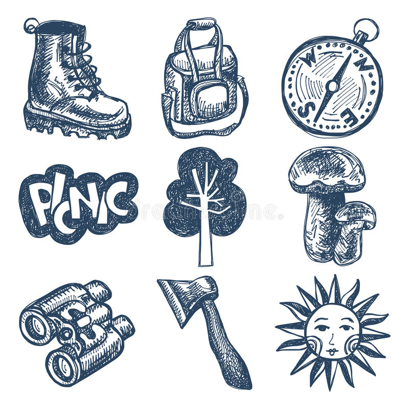 Sketch doodle icon collection, picnic, travel and vector illustration