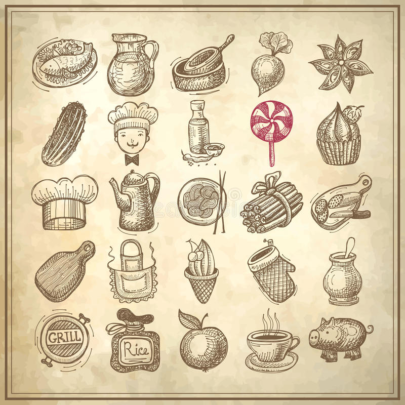 25 sketch doodle icons food royalty free illustration