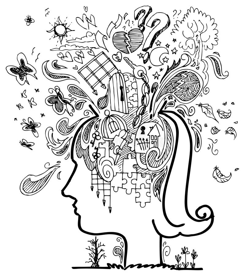 Woman profile: confusion stock illustration