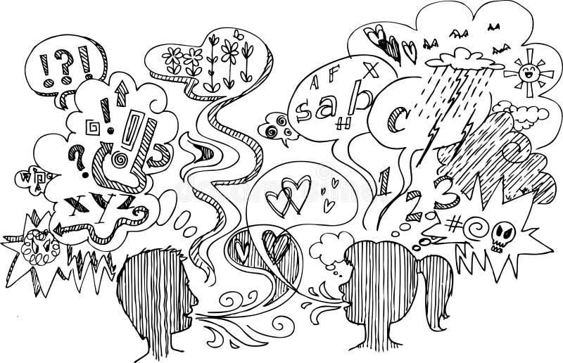 Sketch doodles: couple dialogue vector royalty free illustration