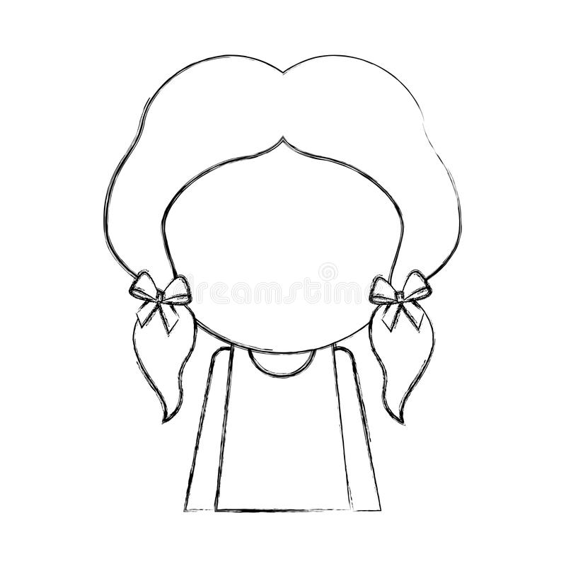 Sketch draw faceless little girl. Sketch draw faceless cute upper body little girl vector illustration graphic design stock illustration