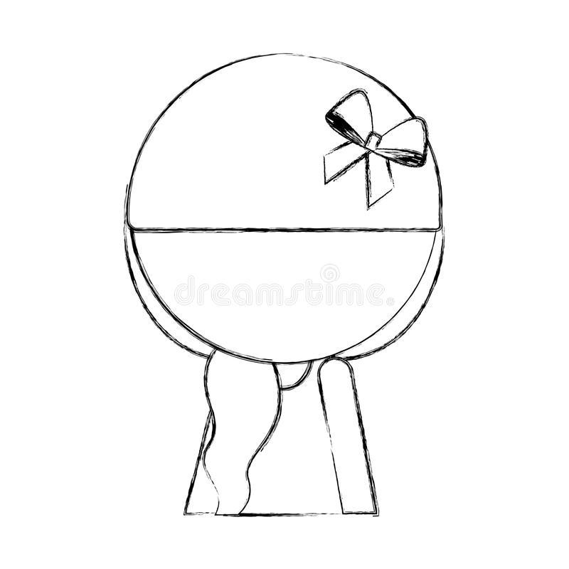 Sketch draw faceless little girl stock illustration