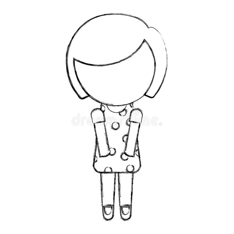 Sketch draw faceless little girl vector illustration