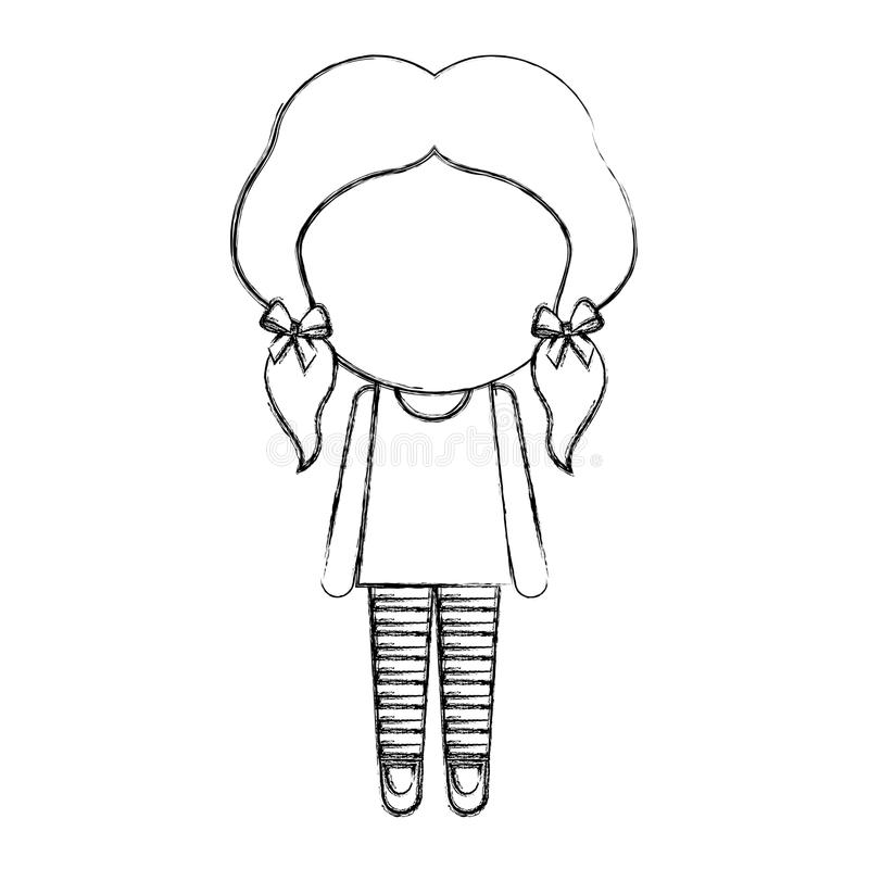Sketch draw faceless little girl royalty free illustration