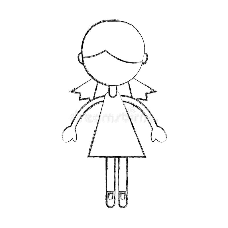 Sketch draw girl cartoon vector illustration