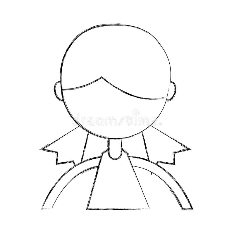 Sketch draw upper body girl cartoon vector illustration