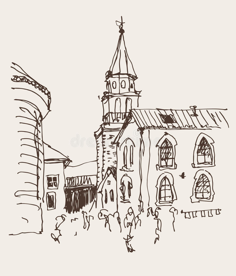 Sketch drawing of the bell tower church top view in old town Bud. Va Montenegro, travel vector illustration vector illustration
